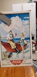 1990 COKE SIGN SAILOR AND YOUNG GIRL 9 BY 15