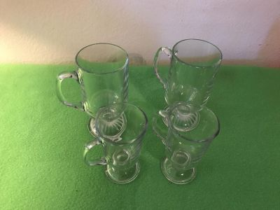 Set of Four (4) Pedestal Glass Mugs. Two Tall & Two Small