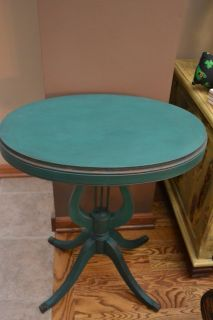 Antique Wood Harp Accent Side End Table Shabby Distressed Emerald