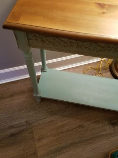31 by 12 by 30. Small side table. Between sage and Minty green color