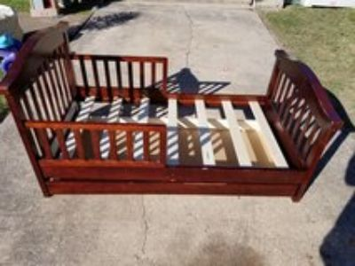 Cherry Wood Toddler Bed with Storge