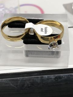Gold Two Band With Cz Set Size 10