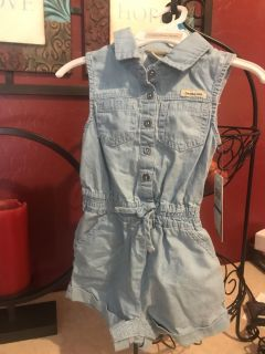 Girls Size 24 Months Calvin Klein Chambray Romper Snaps on bottom New with Tags $7.00