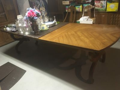 Solid Wood, Formal Dining Table, Three Leaves