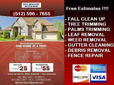 Lawn care starting at $25. Front  Back