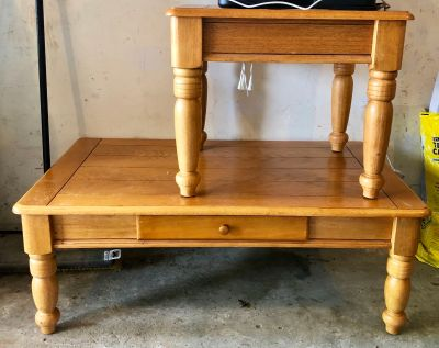 Coffee table and end table set both have drawer