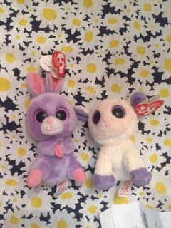 Ty small bunny and lamb new