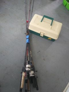 Fishing Rods reels and tackle box