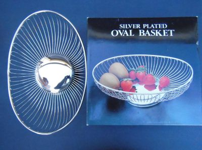 silver plated oval basket