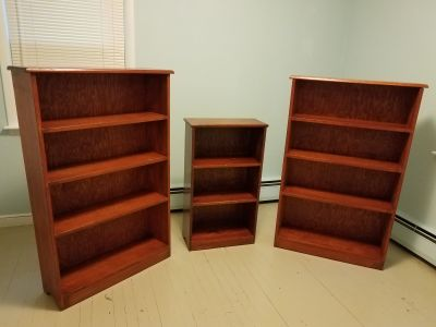Solid Wood Bookcase Trio