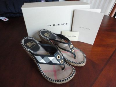 *Authentic Burberry Nova Check Canvas Espadrille Wedge Sandals Heels Size 36 (Euro) - Size 6 US