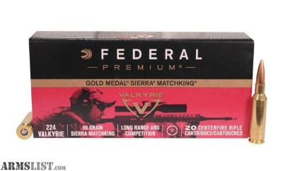 For Sale: Federal Gold Medal Match .224 Valkyrie Ammunition 20 Rounds 90 Grain Sierra MatchKing Boat-Tail Hollow Point 2700fps GM224VLK1