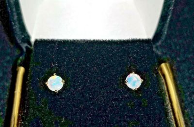 20ct natural multi colored opal earrings 14k solid gold setting . w/ tag