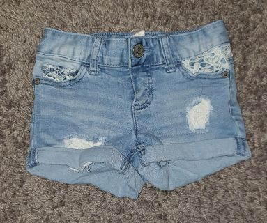 Justice Distressed Lace Jean Shorts size 7 Slim