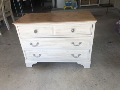 Antique white dresser and nightstand