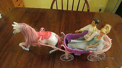 2003 Mattel Barbie Princess & Prince Charming 12 inch dolls Enchanted Horse Carriage