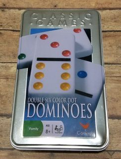 NEW Cardinal Double 6 Color Dot Dominoes in Tin Classic Game 16 Different Games