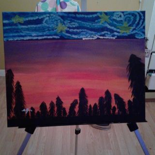 """StarRE night meets sunset forest"""