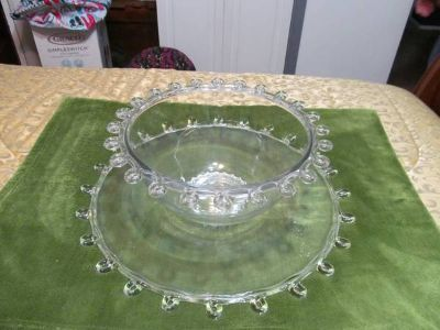 Antique Punch Bowl and Underplate in Lariat pattern by A. H. Heisey