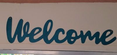 Welcome Sign Wall Art Blue Turquoise Home House Decor
