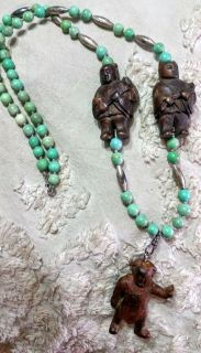 """Turquoise & Carved Wood Figures """"Oriental Palace Necklace"""