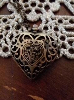 Bronze / copper-colored watch heart-shaped necklace