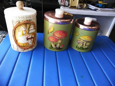 3 Vintage kitchen canisters 1 sears 1978 2 ransburg