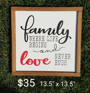 NEW! Painted Wood Framed Sign