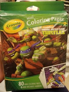 Ninja turtle mini color pages (80) with 6 washable markers