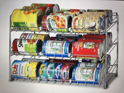 Simple houseware stackable can rack organizer chrome