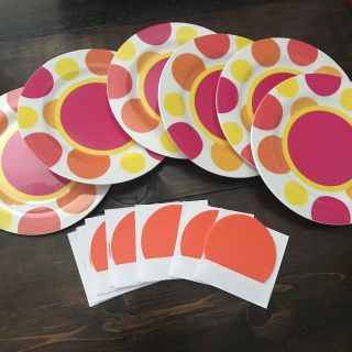 NEW! Set of 6 plastic dessert plates, 6.5 diameter, changed my mind. Plus 11 small round note cards. Only $5!