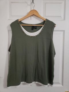 Olive Green Tank Top Size 3X GUC
