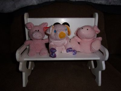3 Little STUFFED ANIMAL PIGS on a Bench Part of a Pig Collection as Decoration