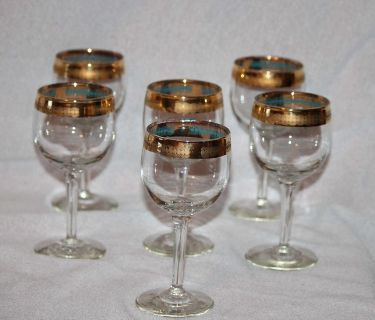 vintage brandy glasses gold rimmed and footed