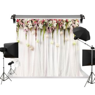 Floral Wedding Photo Backdrop by Kate