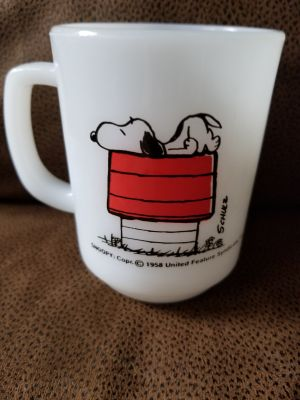 Vintage Fireking Milk glass Snoopy mug, I deliver to Sarnia,Brights Grove and Petrolia on Tuesdays