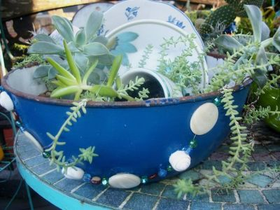 Vintage Enamelware Bowl & Dishes w Succulents and Bead Decor