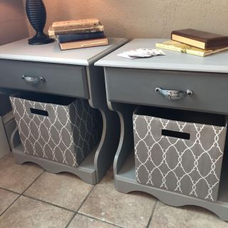 Two-Tone Grey Pair of End Tables or Nightstands