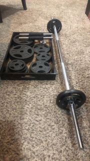 CAP steel weights, bar, and 2 dumbbell bars