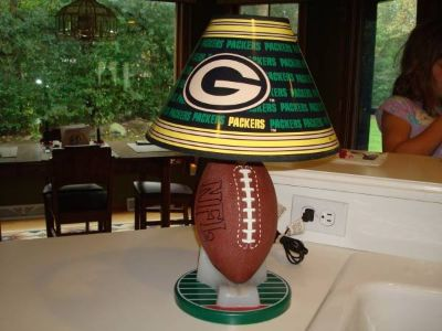 Ultra Rare 1997 NFL Green Bay Packers FOOTBALL on Tee Lamp w/ Shade