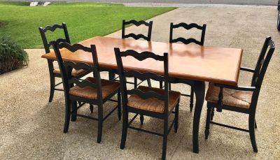 Teak Dining Table with Leaf and Six Chairs