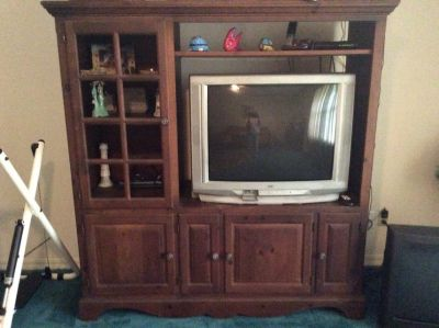 Solid wood entertainment center with JVC TV