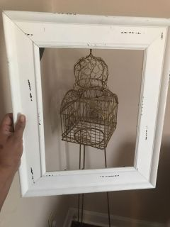Distressed wood frame 19 x16 (not the bird cage )