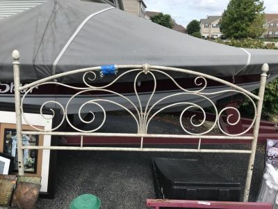 King size shabby chic distressed wrought iron headboard