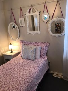 Twin bed and bedding.