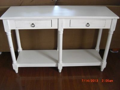 White Distressed Chic 6 Leged Console Sofa table with 2 Drawers