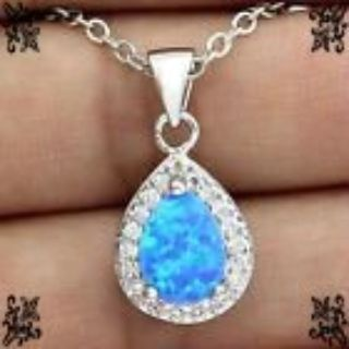 New - Dainty Blue Fire Opal Necklace