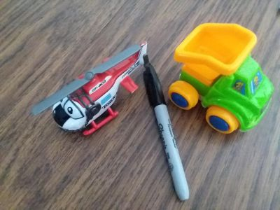 Helicopter and dump truck