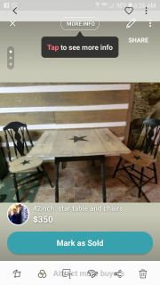 42inch antique table and two chairs