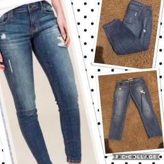 Nordstrom Eunina cropped frayed edge distressed jeans size 27